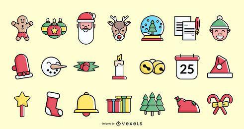 Colección de iconos de colores de trazo de Navidad