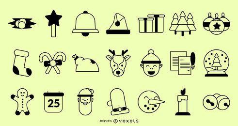 Colección de trazos de iconos de Navidad