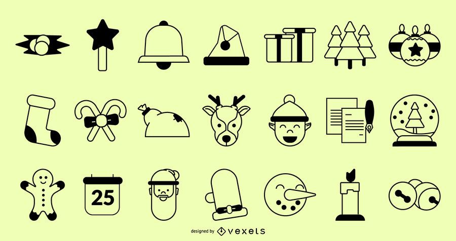 Coleção de traços de ícones de Natal