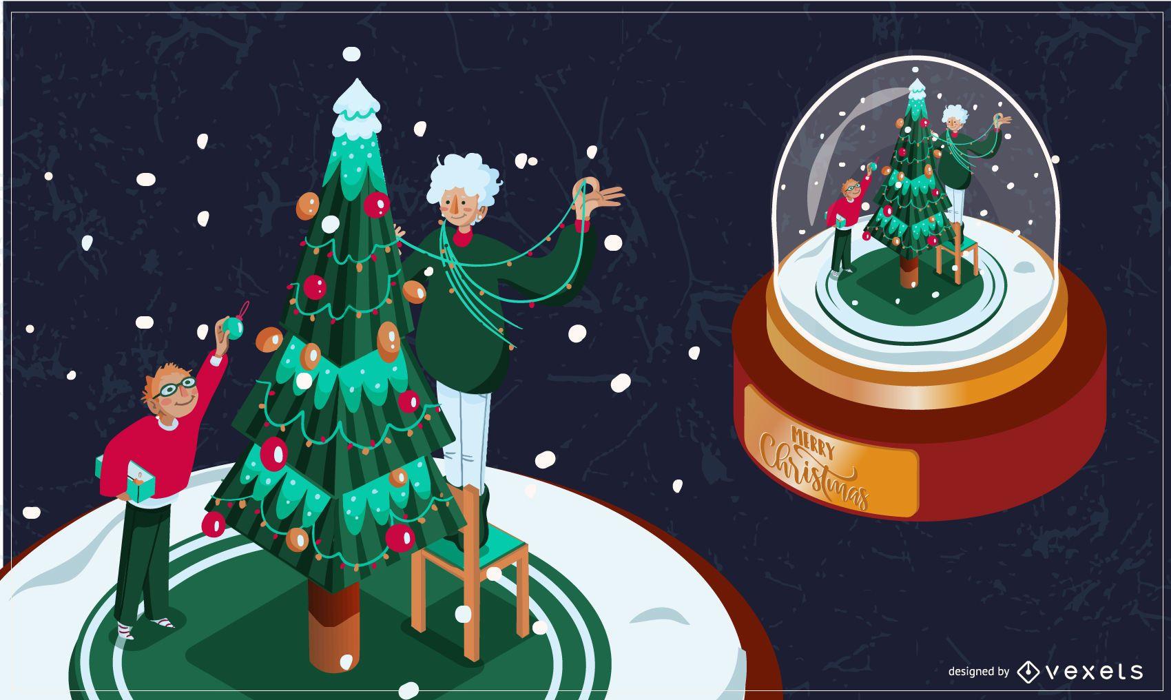 Christmas snowglobe illustration