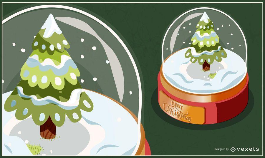 Christmas tree snowglobe illustration