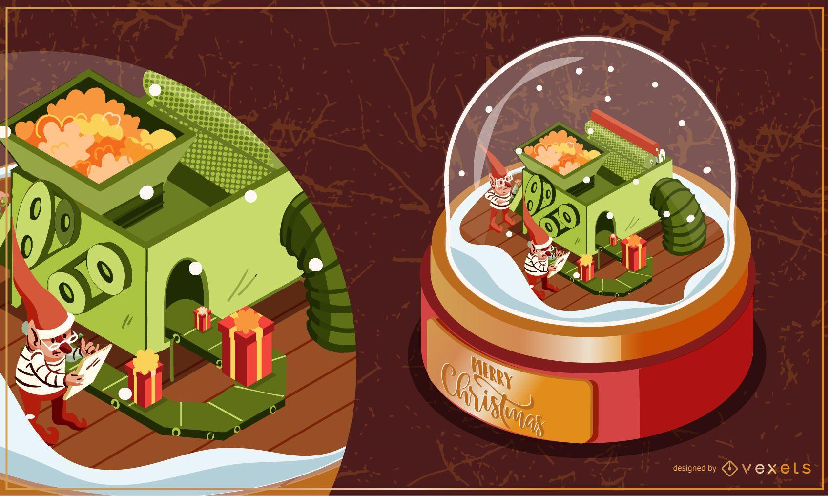 Ilustración de máquina de regalo de globo de nieve