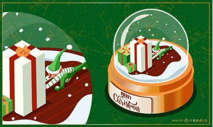 Ilustración de globo de nieve de regalo elfo