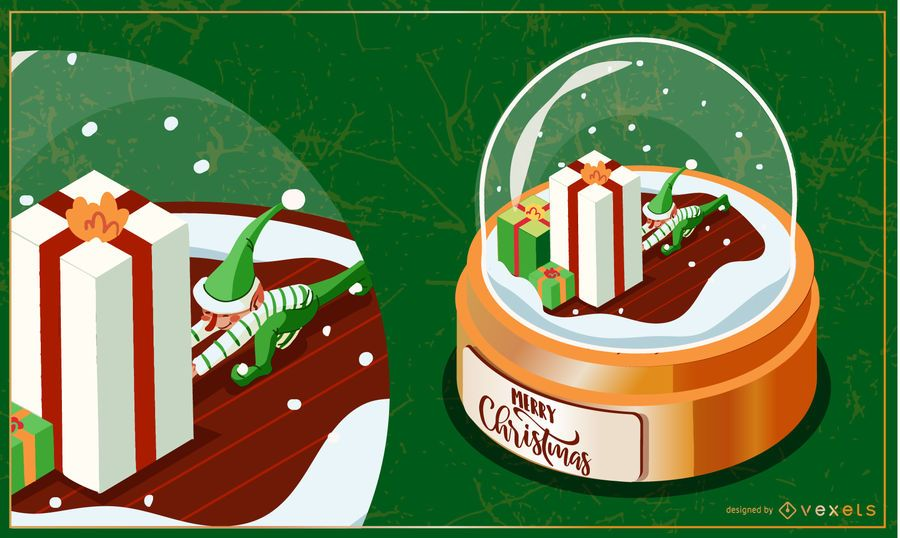Ilustração de snowglobe de presente de elfo