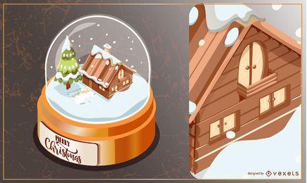 Snowglobe-Winterweihnachtsillustration