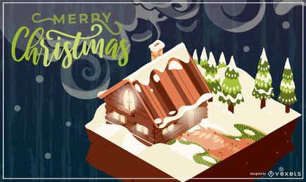 Merry christmas cabin illustration
