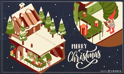 Merry christmas house illustration