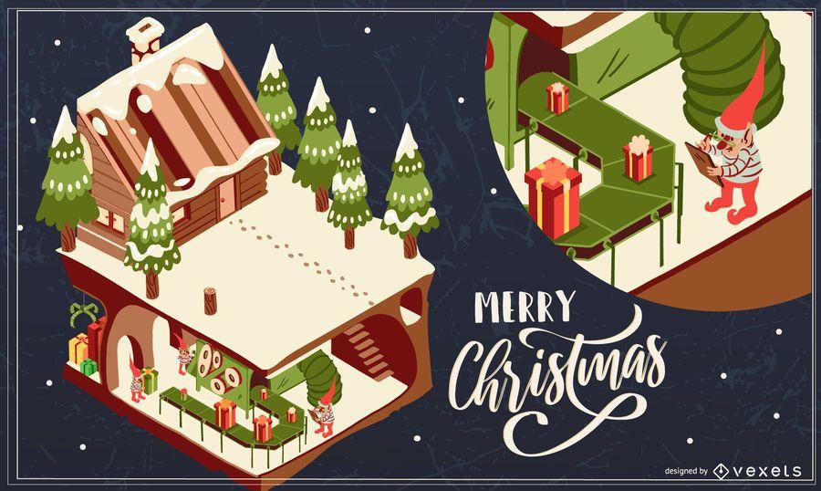 Ilustración de casa de feliz navidad