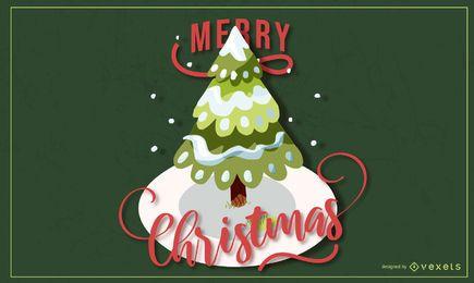 Frohe Weihnachten Baum Schriftzug