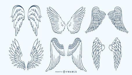 Conjunto de alas dibujadas a mano