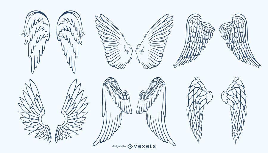 Handdrawn Wing Set