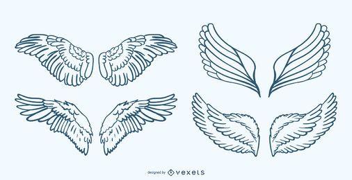 Conjunto de ilustração de asas desenhadas à mão