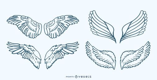 Handdrawn Wing Illustration Set