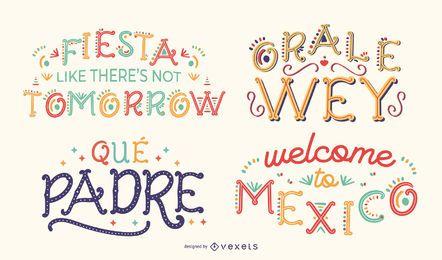 Conjunto de letras de citações mexicanas