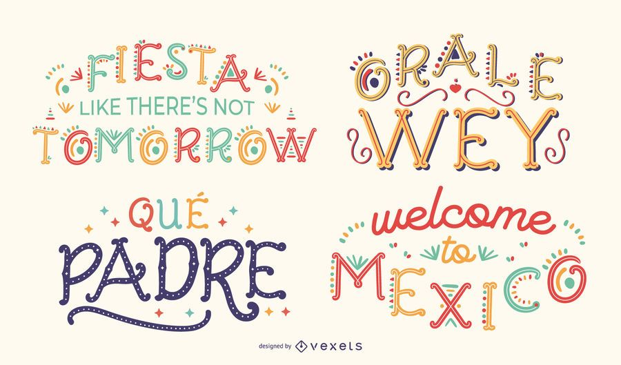 Mexican quotes lettering set