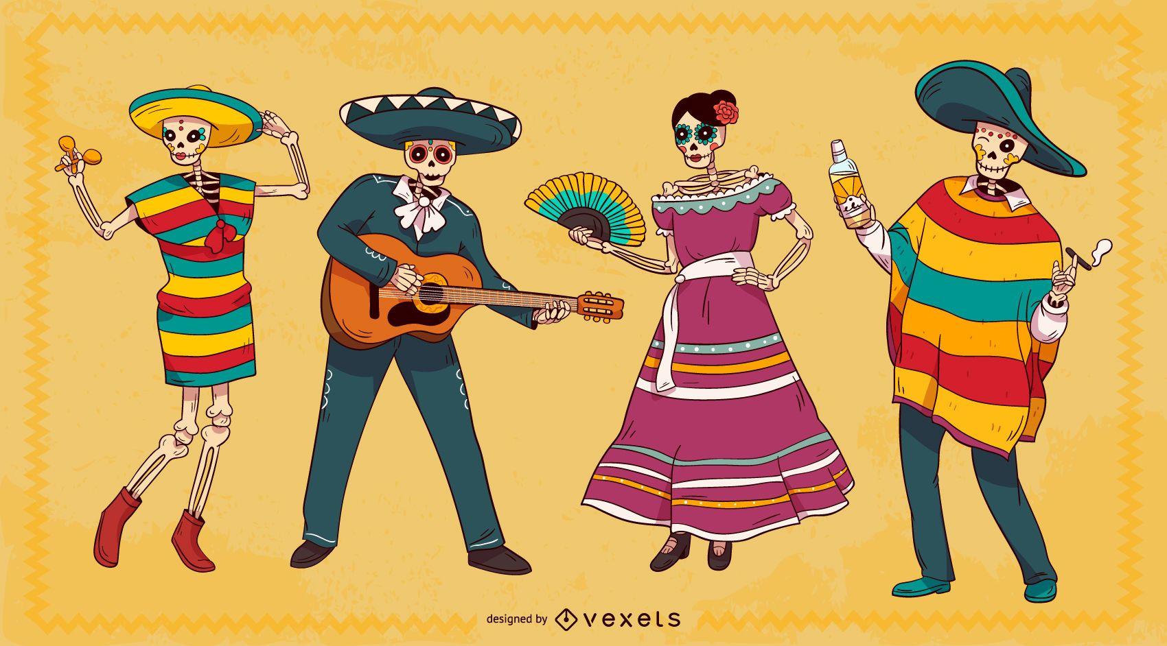 Conjunto de personajes de esqueleto mexicano