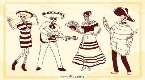 Personagens de traço de esqueleto mexicano