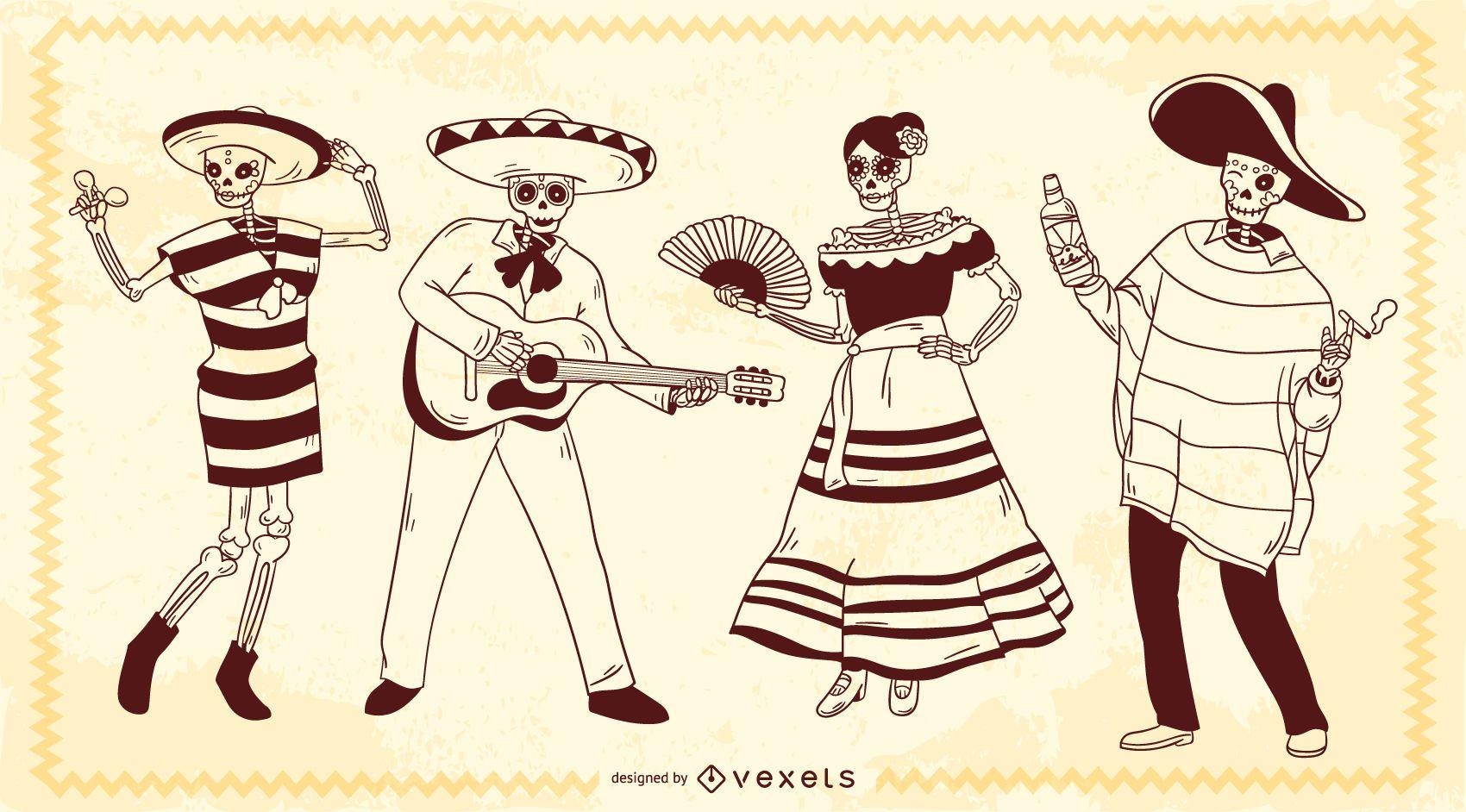 Personajes de trazo de esqueleto mexicano