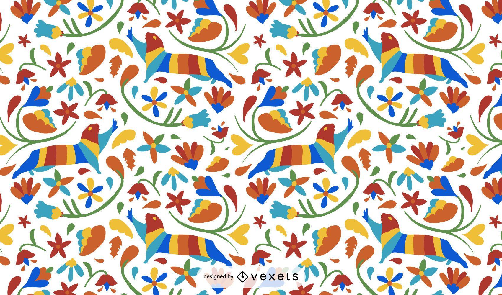Diseño de patrón de nutria estilo otomí