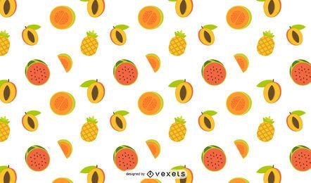 Desenho de padrão de frutas tropicais