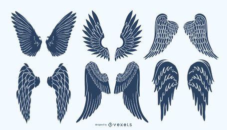 Paquete de silueta de alas de ángel