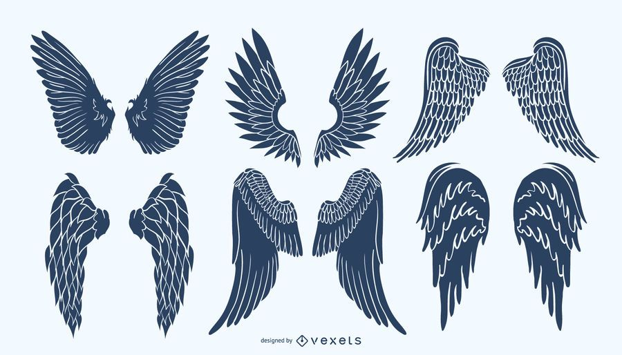 Angel wings silhouette pack