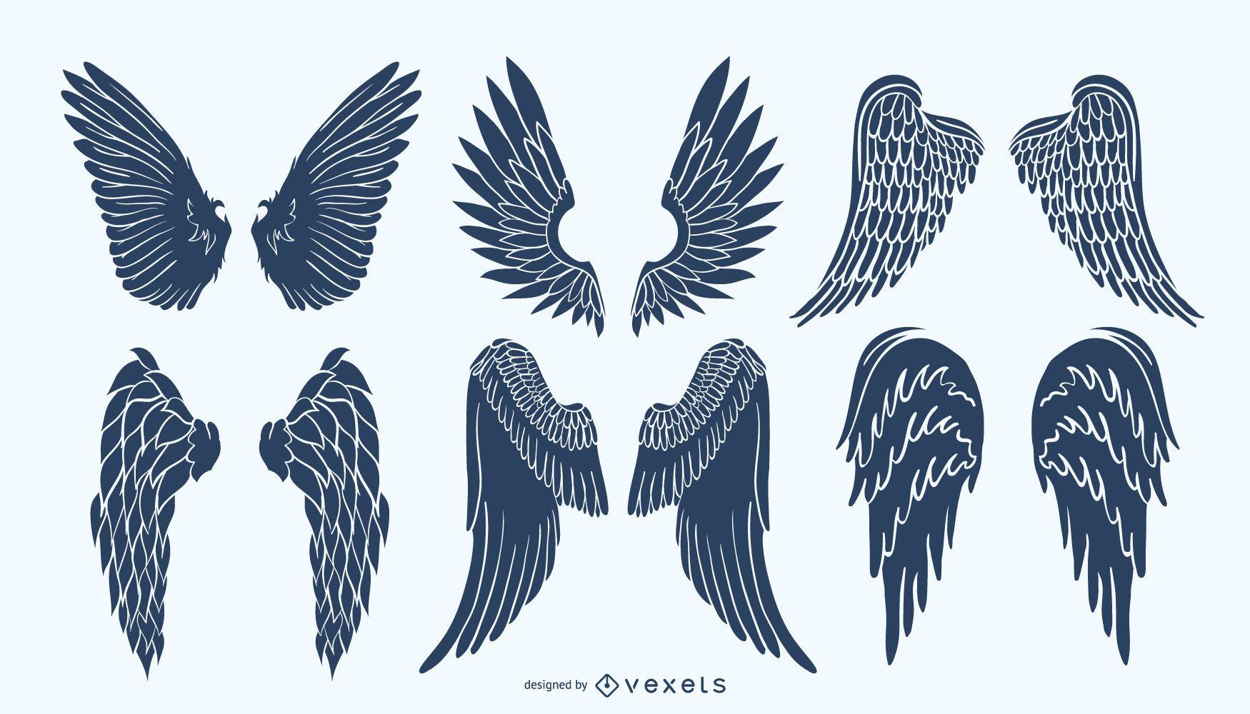 Angel wings silhouette pack