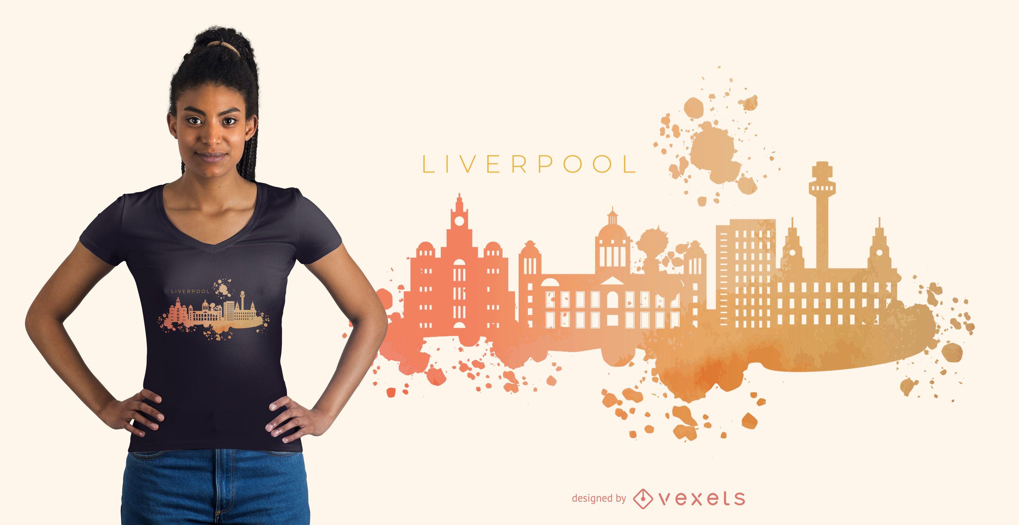 Liverpool watercolor skyline t-shirt design