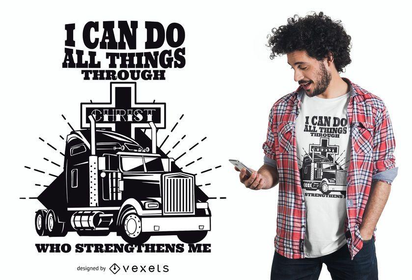 Design do t-shirt das citações do camionista de Jesus