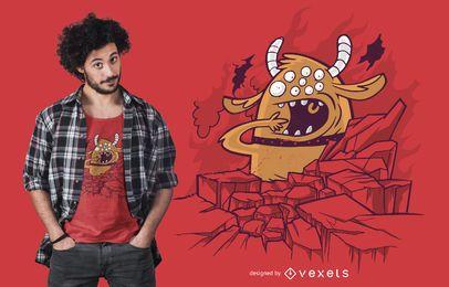 Diseño de camiseta gigante de dibujos animados monstruo