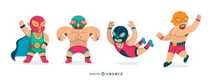 Conjunto de lucha libre mexicana plana