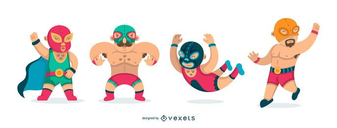 Flat mexican wrestling set