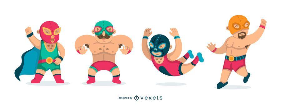 Flat mexican wrestling set