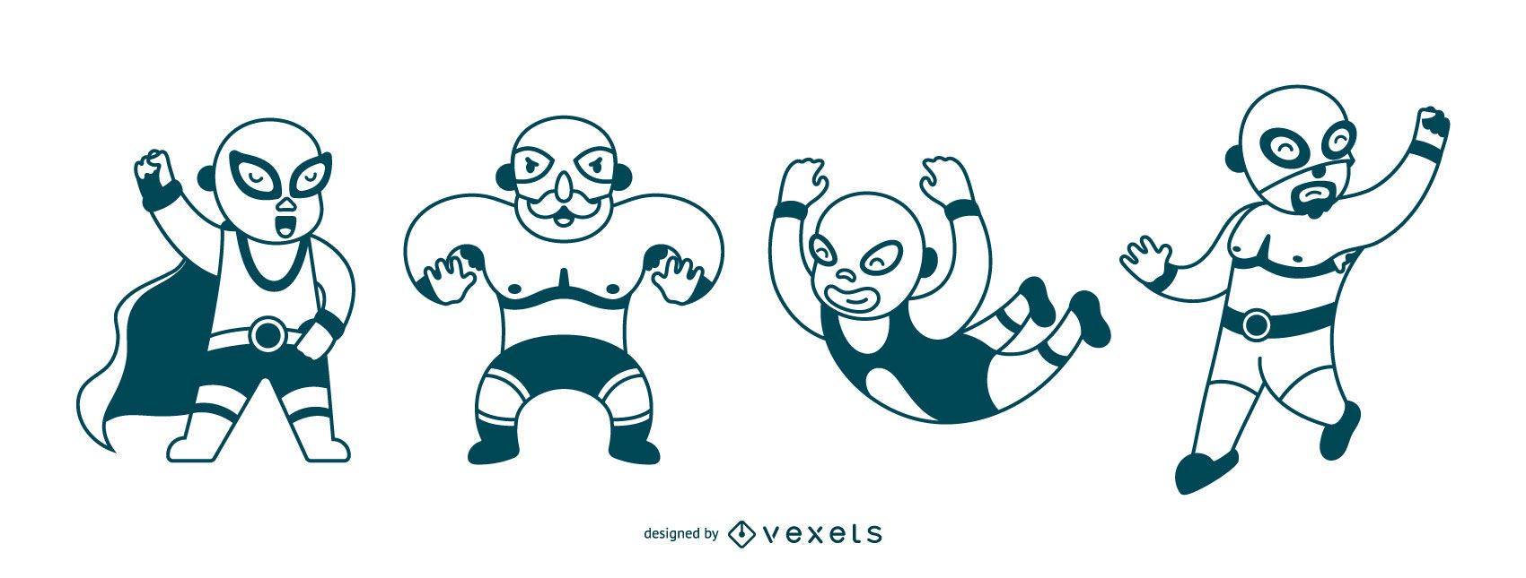 Mexican wrestling stroke set