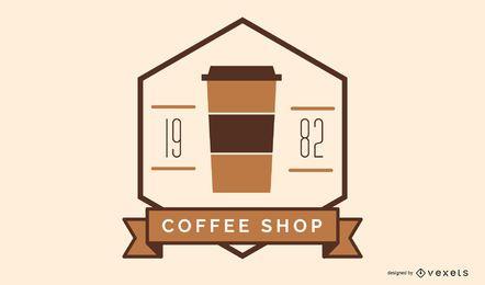 Diseño de insignia de logotipo de cafetería