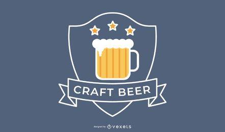 Diseño de insignia de logotipo de cerveza artesanal