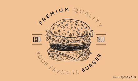 Diseño de logotipo de hamburguesa premium