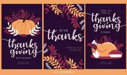 Conjunto de convites de ação de Graças
