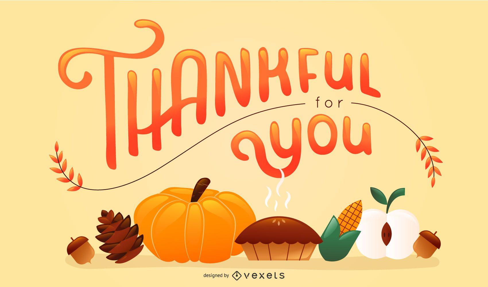 Design de letras de elementos de Ação de Graças