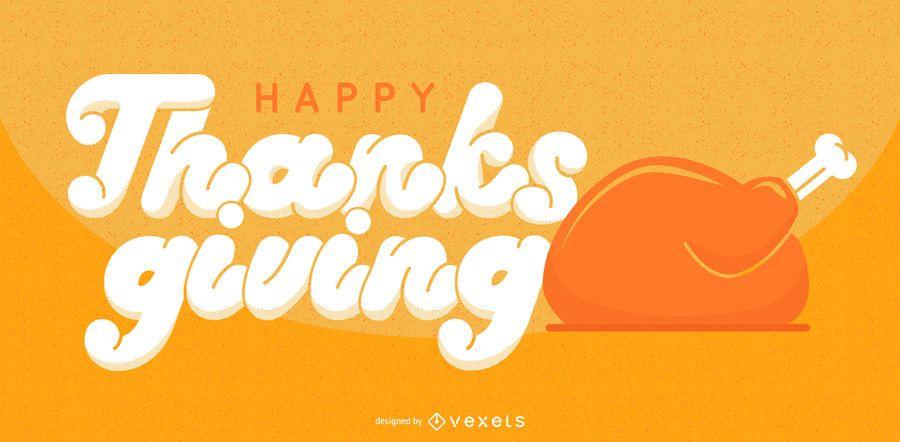 Banner de letras de ação de graças feliz
