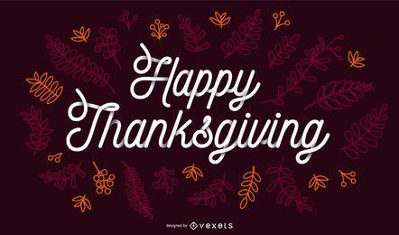 Feliz Ação de Graças Outono Lettering Banner