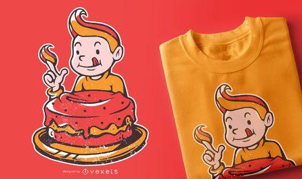 Menino fofo comendo bolo design de camiseta