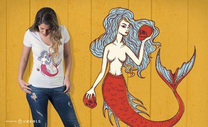 Meerjungfrau mit Schädel-T-Shirt Entwurf