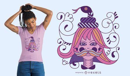 Diseño de camiseta de chica de adorno