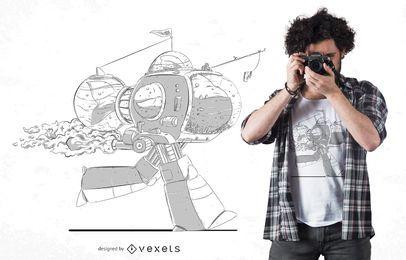 Roboter-Haifisch-T-Shirt Entwurf