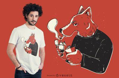 Diseño de camiseta de lobo fumando