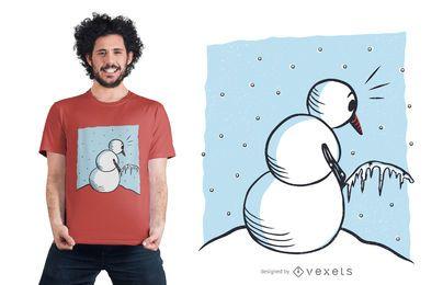 Boneco de neve que faz xixi design engraçado do t-shirt