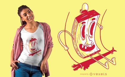 Diseño de camiseta de personaje en columpio