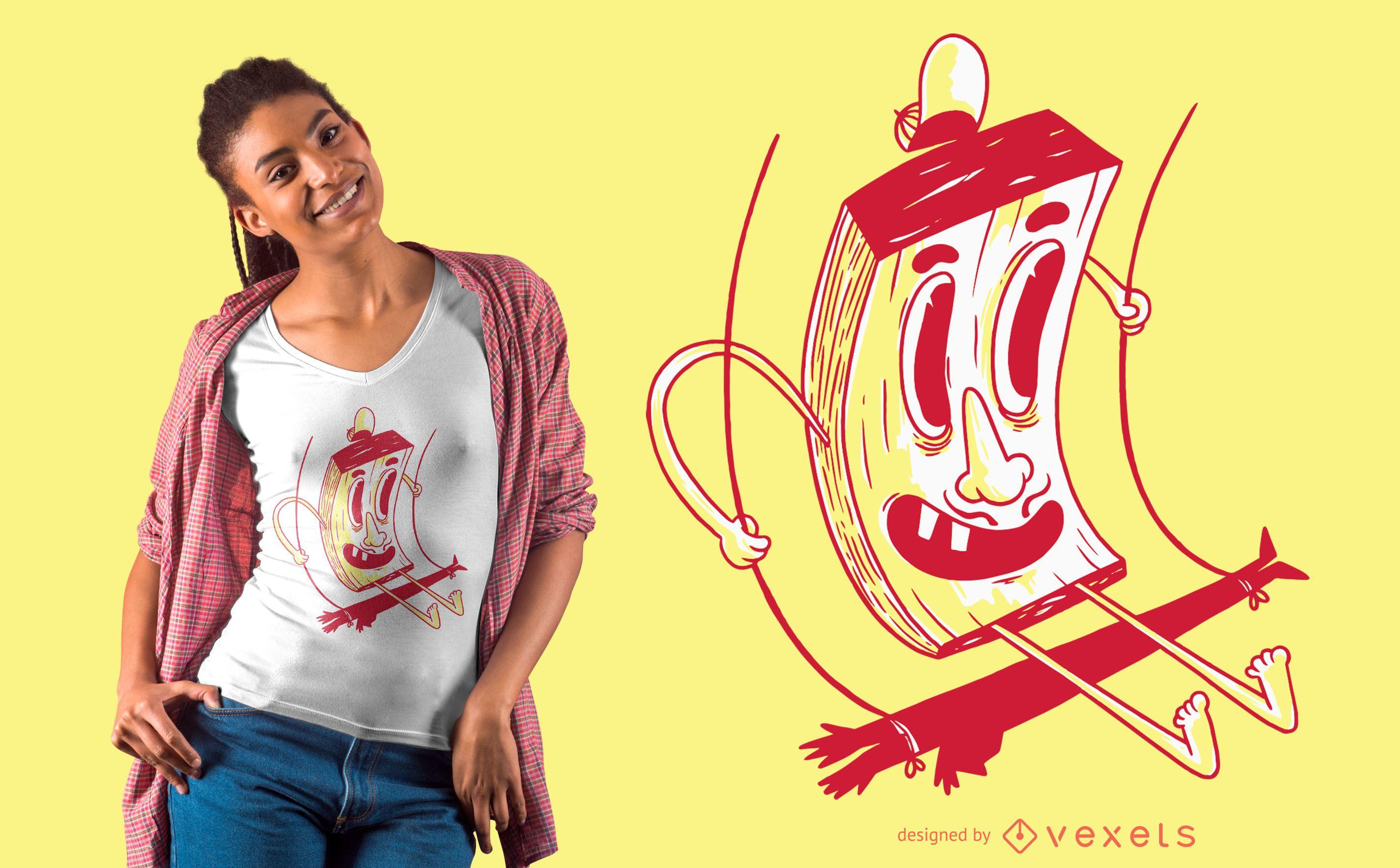 Diseño de camiseta de personaje en swing