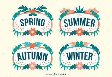 Tropical seasons vector set